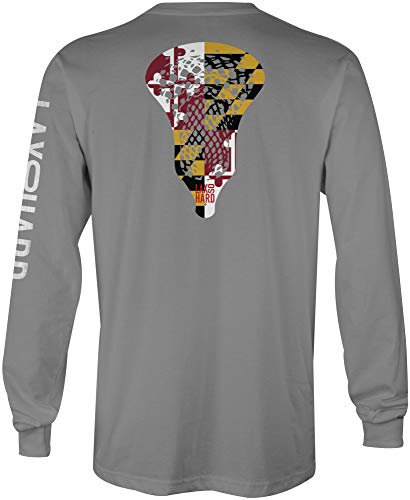 LAX SO HARD Boys Maryland Lacrosse Long Sleeve T-Shirt, Youth Medium