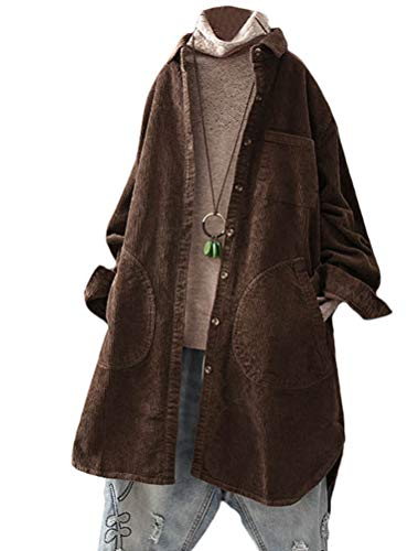 (Minibee Women's Corduroy Shirt Coats Long Sleeve Button Down Blouses Tops with Pockets Coffee L)