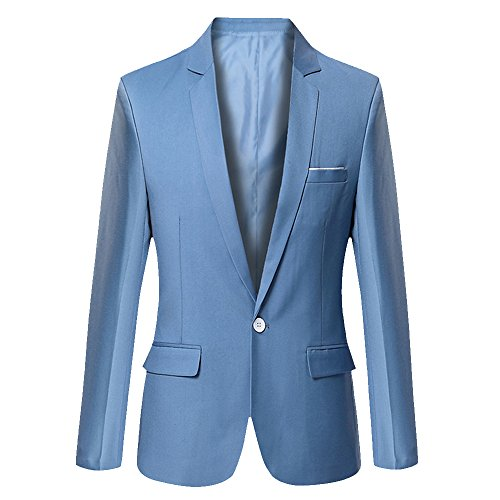 - DAVID.ANN Men's Slim Fit One Button Casual Blazer Jacket,Light Blue,X-Large