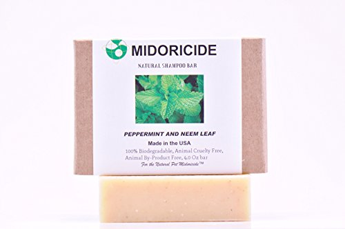 MIDORICIDE NATURAL PET SHAMPOO BAR - PEPPERMINT & NEEM LEAF- Excellent for flakiness,dandruff,itchy skin,eczema, repair and revitalization therapy while providing soothing effect- 4 oz