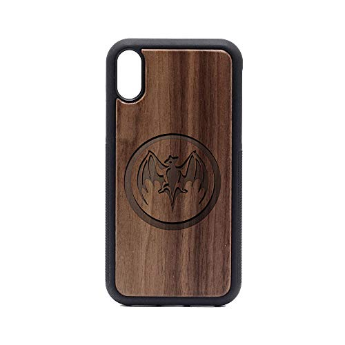 Logo Bacardi BAT - iPhone XR Case - Walnut Premium Slim & Lightweight Traveler Wooden Protective Phone Case - Unique, Stylish & Eco-Friendly - Designed for iPhone XR ()