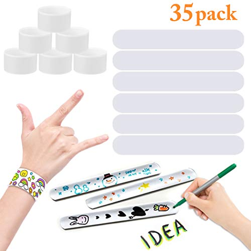 Diy Slap Bracelets (Slap Bracelets, JUSTDOLIFE 35 Pack White Slap Bracelet Band Party Bracelet Favors Painting Pat Ring Bracelet for Kids Boys Girls DIY School)
