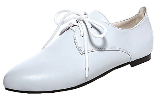 Comfy Toe Lace Top Flats Summerwhisper Shoes Round Up Women's White Oxfords Low TxZaxwqA