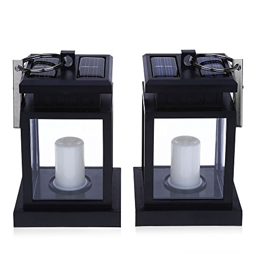 2PCS Solar Powered LED Outdoor Candle Lantern Hang Lamp - 1