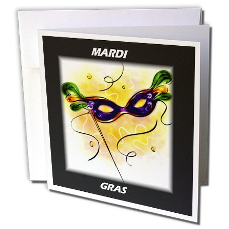 3dRose Mardi Gras Feather Mask - Greeting Cards, 6 x 6 inches, set of 12 (gc_39017_2) (Gras Mardi Invitations Wedding)