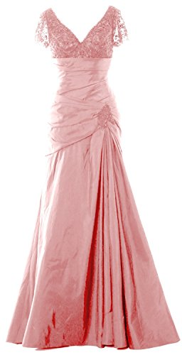 MACloth Women Cap Sleeves V Neck Lace Long Mother of Bride Dress Evening Gown Blush Pink