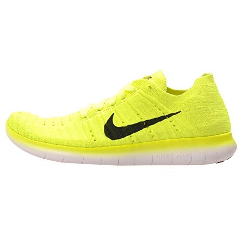 buy popular 2c3f2 11d3e Nike Kid's FREE RN FLYKNIT (GS), Volt / Black - White, Youth Size 4