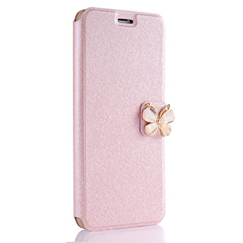 iPhone 8 Plus Case,AutumnFall Full Protective Anti-Scratch Resistant Butterfly Decoration Leather Cover Case for Apple iPhone 8 Plus 5.5 Inch (2017) (Rose Gold)