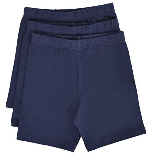 - Stretch is Comfort Girl's Cotton Biker Shorts Set Of 3 Pieces Navy Blue X-Small