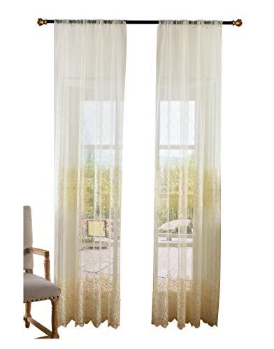 ASIDE BSide - Cortinas de estilo clásico, estilo clásico, cortinas con barra de bolsillo, bordado floral, elegantes...