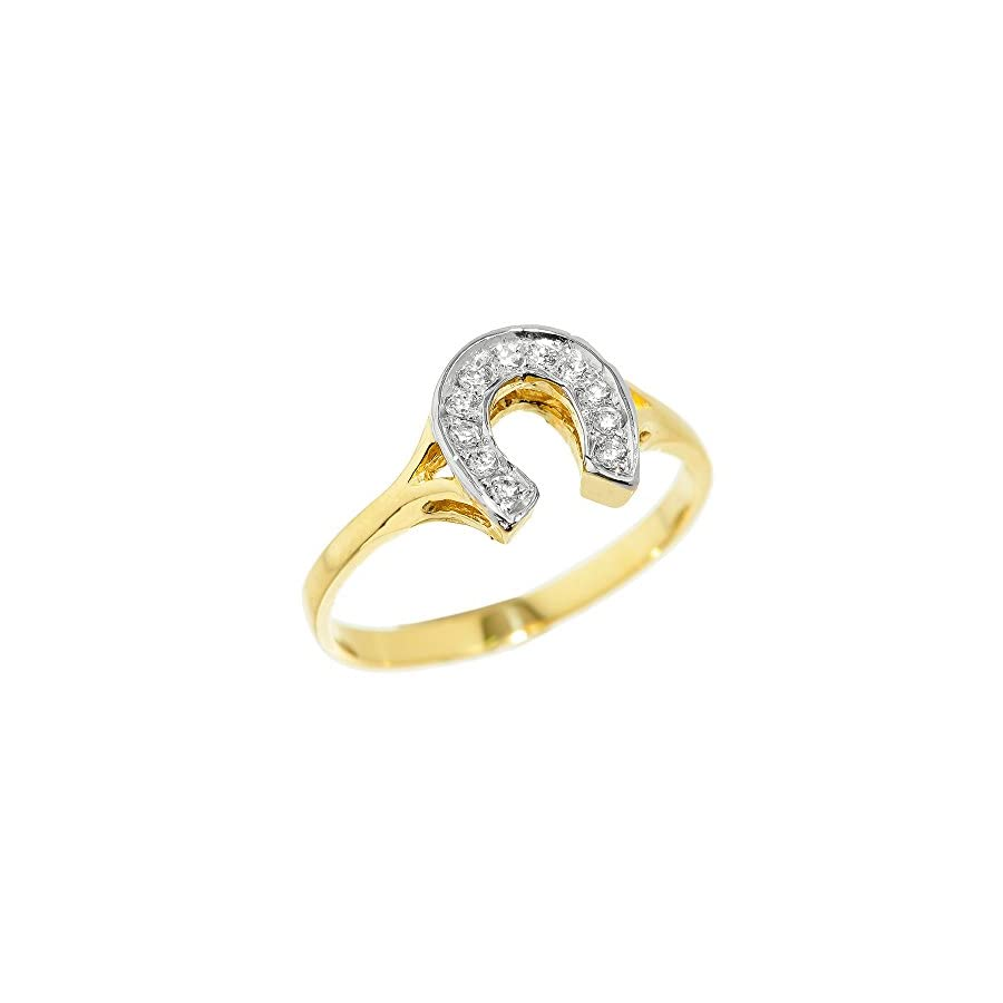 Fine 14k Yellow Gold Lucky Diamond Horseshoe Ring