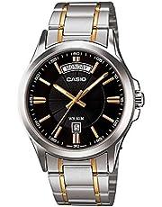 ساعة يد للرجال بمينا باللون الاسود وعرض انالوج وسوار من الستانلس ستيل من كاسيو - MTP-1381G-1AVDF