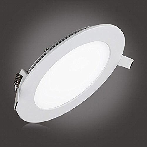 6W LED Panel Light Fixture Dimmable Round Ultrathin Ceiling Light Fixtures,LAIN 40W Recessed Incandescent Equivalent, 3000K Warm White 480lm Downlight 4.1 Inch Cut Hole Lamp,120V Isolation Driver