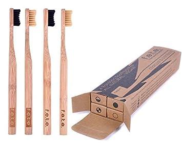 Cepillo de dientes de bambú mejor ecológico biodegradable mangos de bambú y sin BPA nailon cerdas naturales para cuidado dental perfecto respetuoso con el ...