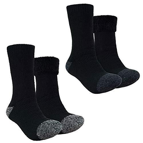 GIUCK SOCKS Mens Slipper Socks 2 Pairs Of Wool Socks Fuzzy Heavy Thermal Thick Warm Winter Socks For Cold Winter