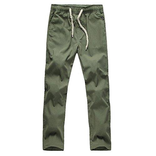 Honghu Ocio Straight Fit Leg Pantalones para Hombre Verde