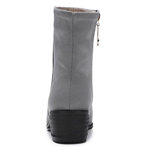 Shoes Women KemeKiss Winter Autumn Side Zipper Boots Short Grey Pointy qq8xwPdT
