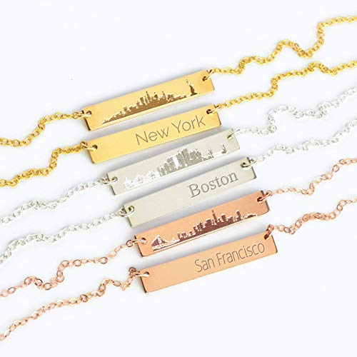 Skyline necklace, city necklace, New York necklace, Boston necklace, horizontal bar necklace hipster necklace Chicago necklace San Francisco