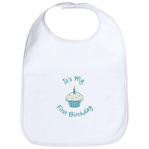 CafePress - First Birthday Cupcake Blue Bib - Cute Cloth Baby Bib, Toddler Bib