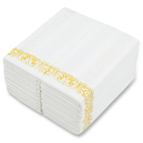 "Disposable Hand Towels for Bathroom - Elegant Guest Towels and Dinner Napkins Made of 17"" x 12"" Linen-Like Paper with Gold-Tone Filigree Borders (100 Pack)"