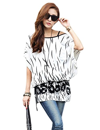 Buy-Box Women's Exotic Batwing Sleeve Shirt Bohemian Floral Prints Tops Oversized Blouse