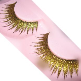 Goege Shiny Long and Thick Exaggerated False Eyelashes Extension for Women Girls Cosplay Fancy Ball Halloween (Gold)
