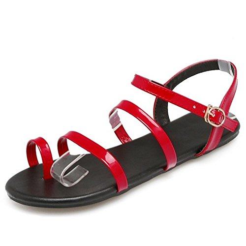 TAOFFEN Women Fashion Strap Sandals Flats Red KavgPz