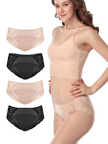 Intimate Portal Period Leak Proof Panties Incontinence Menstrual Underwear Women Tweens 4-pk Black Beige M