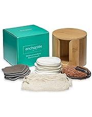 Enchantée Duurzame premium beauty-set: 21 x wasbare make-uppads + 1 x fluwelen pad - incl. bamboe opbergbox en wasnet / herbruikbaar / milieuvriendelijk / bamboe en katoen