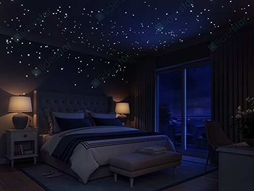 Glow In The Dark Stars Wall Stickers, 252 Dots and Moon for Starry Sky, Perfect For Kids Room ,Beautiful Wall Decals ,for any Bedroom or Living room by LIDERSTAR ,Delight The One You Love.