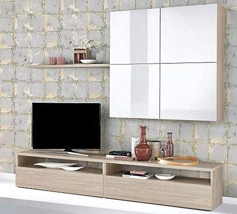 Dafnedesign.com - Parete componibile per soggiorno - Colore: olmo ...