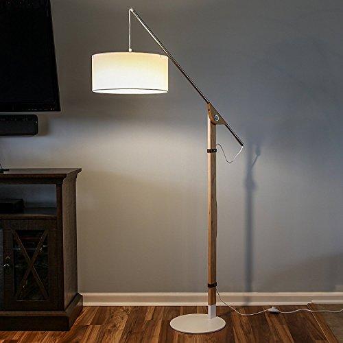 brightech eithan led floor lamp modern contemporary elevated crane arc floor lamp linen hanging lamp - Floor Hanging Lamp
