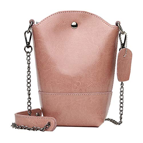 In Leather Borsa Secchiello Rosa Pelle Con Cerata Retro A Hjly qvIwABB