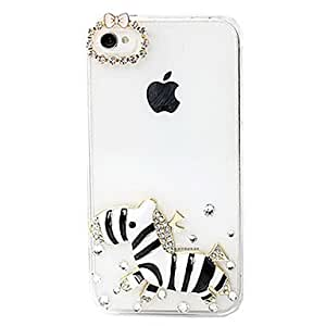 LZXCute Cartoon Zebra Pattern Back Case for iPhone 4/4S