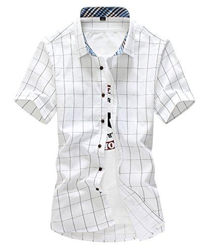 [スゴフィ]SGFY  メンズ ポロシャツ チェック柄 カジュアル シャツ ゴルフ ウェア (2XL, ホワイト)