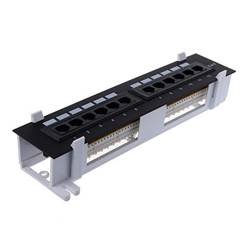 South-Dragon - 12 Ports Ethernet LAN Network Adapter CAT6 Patch Panel RJ45 Networking Wall Mount Rack Mount Bracket Network Tools C26