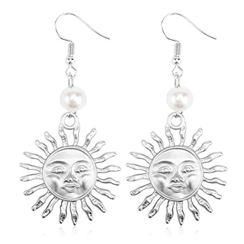 Gyoume Dangle Earrings Creative Pearl Sun Flower Smiley Earrings Jewelry for Girl Jewelry Ornament (A, Sliver)