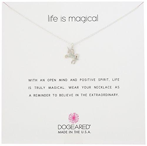 """Collar de encantos de unicornio de plata de ley """"Life Is Magical"""" de Dogeared, 16 """"+2"""" Extender"""