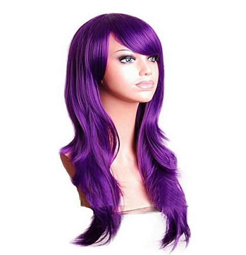 Purple Cosplay Wigs Long Hair Anime Costume Wig 28 Inch Halloween Wigs for Women -