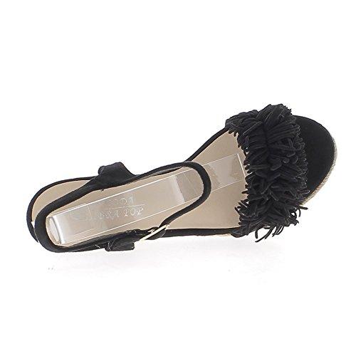 Sandales compensées noires talons de 11cm avec franges et plateforme