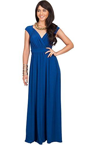 s Long Cap Short Sleeve Cocktail Evening Sleeveless Bridesmaid Wedding V-Neck Empire Waist Vintage Gown Gowns Maxi Dress Dresses For Women, Cobalt/Royal Blue S 4-6 (1) (Waist Matte Jersey Dress)
