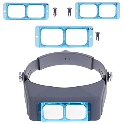 Huhudde Head-mounted Welding Repair Magnifier Head Band Optivisor Eye Loupe 4 Lens