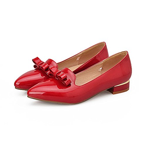 Amoonyfashion Donna Tacco Basso In Vernice Solido Pull-on A Punta Chiusa Pompe-scarpe Rosse