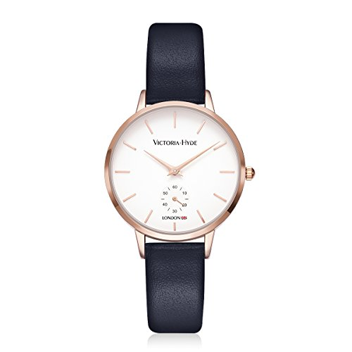 VICTORIA HYDE Ladies Quartz Second Hand Wrist Watch Rose Gold Waterproof Leather Navy Blue for Women