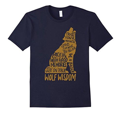 Mens Wolf Wisdom T-shirt - Wolf Lovers Tshirt Large Navy Wisdom T-shirt