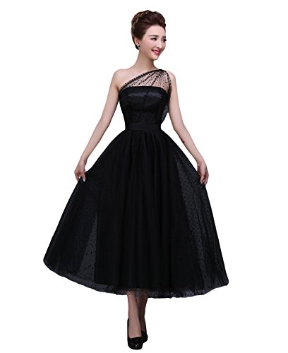 Gown Tea Length - BRL MALL Women's Tea Length One Shoulder Tulle Evening Dress (8, Black)
