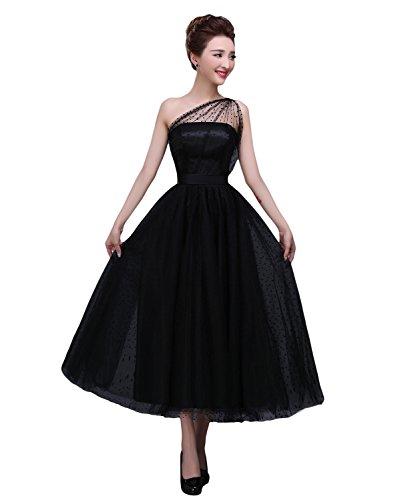 BRL MALL Women's Tea Length One Shoulder Tulle Evening Dress (14, Black)