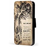 alice in wonderland i 39 m not crazy cheschire cat faux leather wallet mobile phone case cover for. Black Bedroom Furniture Sets. Home Design Ideas
