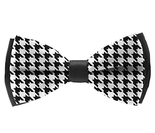 (Perfect Men Gift - Men's Classic Fashion Pre Tied Bow Ties for Wedding Party Business Adjustable Black And White Houndstooth Bowties)