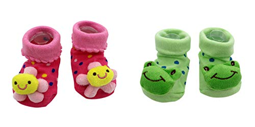 New Cute Baby Socks Pink Flowers and Kermit The Frog Theme 2-Pack 3-12 Months w/Gift -